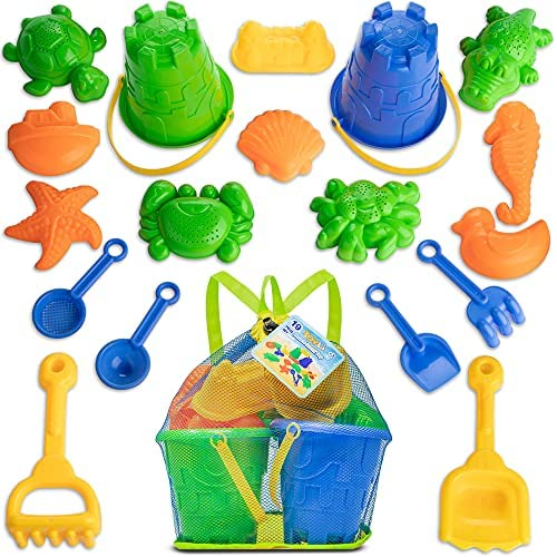 TOYLI Beach Sand Toys Set with 19 Pieces, Buckets,...
