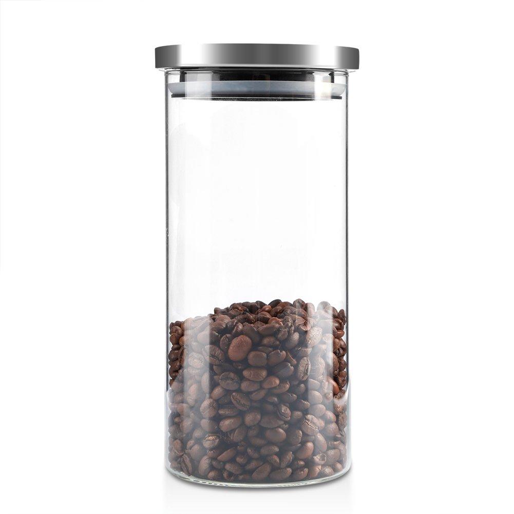 Boîte à Café Hermétique, ASHATA Boîtes et Coffrets à thé et Café Alimentaire en Verre Borosilicate Coffee Vault Hermétique de Conservation pour Café/Haricots / Sucre/Thé (1000ML)(1000ML)
