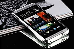 iCake Ultra-thin Dual All Metal Aluminum Case Bumper Frame Cover For HTC ONE M7 + Free iCake Branded Touch Pen (Silver)