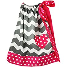 Wholesale Princess Gray Chevron with Hot Pink Trim Cotton Pillow Case Dress
