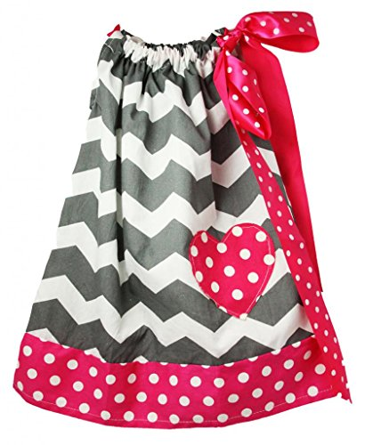 Wholesale Princess Gray Chevron with Hot Pink Trim Cotton Pillow Case Dress (Small) (Childrens Clothes Pillow Case Dress)