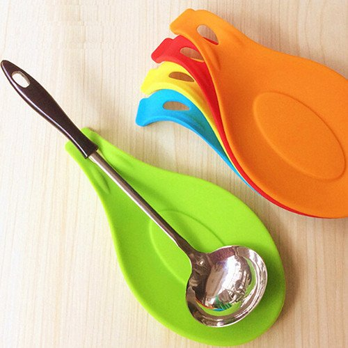 (Kitchen Heat Resistant Silicone Spoon Rest Utensil Spatula Holder Kitchen Tool)