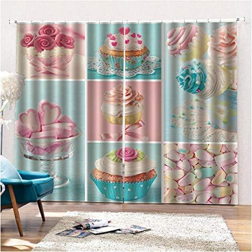 QinKingstore おいしいスナック2ピース/セット150×166センチウィンドウカーテン用ホームキッチンリビングルームベッドルームウィンドウ装飾