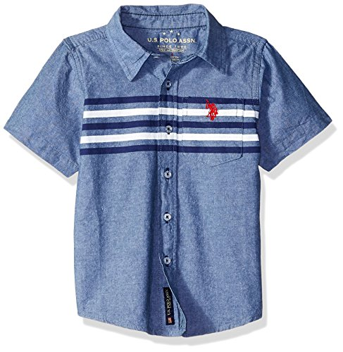 (U.S. Polo Assn. Boys' Little Short Sleeve Fancy Sport Shirt, Chest Stripes Blue, 7)
