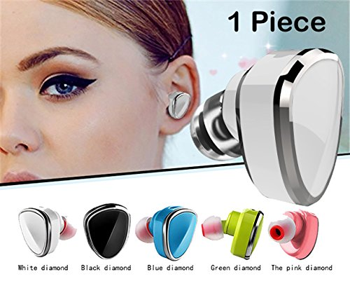 Free White Headset Hands (Sound Force Single Earbud Wireless Bluetooth 4.1 For Women Men. LQQK And Feel Amazing. Works On Apple Android Cell Phone - Mic For Hands Free Calling- 5 incredible Colors And USB Bracelet Charger)