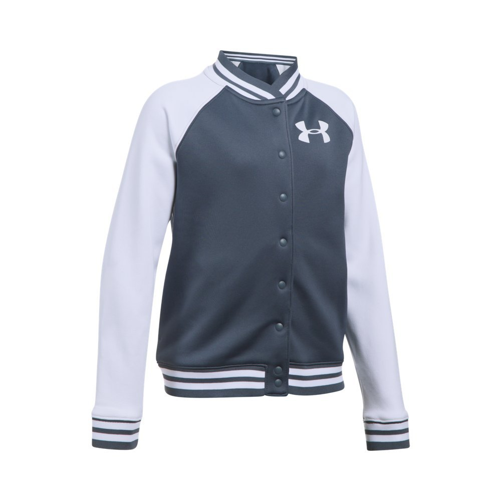 Under Armour Girls' Armour Fleece Graphic Bomber,Apollo Gray /White, Youth Large