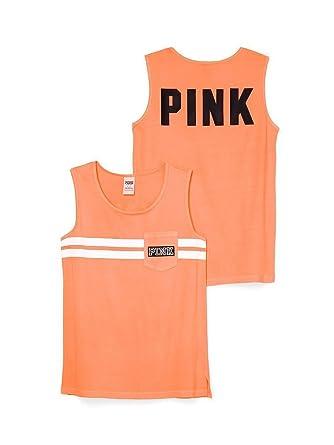 07df358423d8f Victoria's Secret PINK Campus Tank Citrus Splash (Medium) at Amazon ...