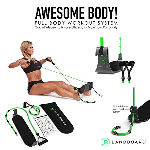 BandBoard BB1 Portable Home Gym - The Most Efficient, Convenient, and Compact Band-Building Workout System, BAR None! Includes Set of Level 2 BB1 Bands + Carrying Case + Torrie Wilson Workout Guide