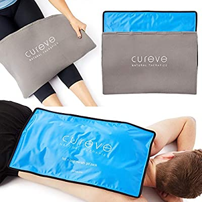 "Extra Large Hot and Cold Therapy Gel Pack with Cover by Cureve (21"" x 13"") - Reusable Ice Pack for Injuries, Aches and Pain on Back, Legs, Shoulders and Arms"