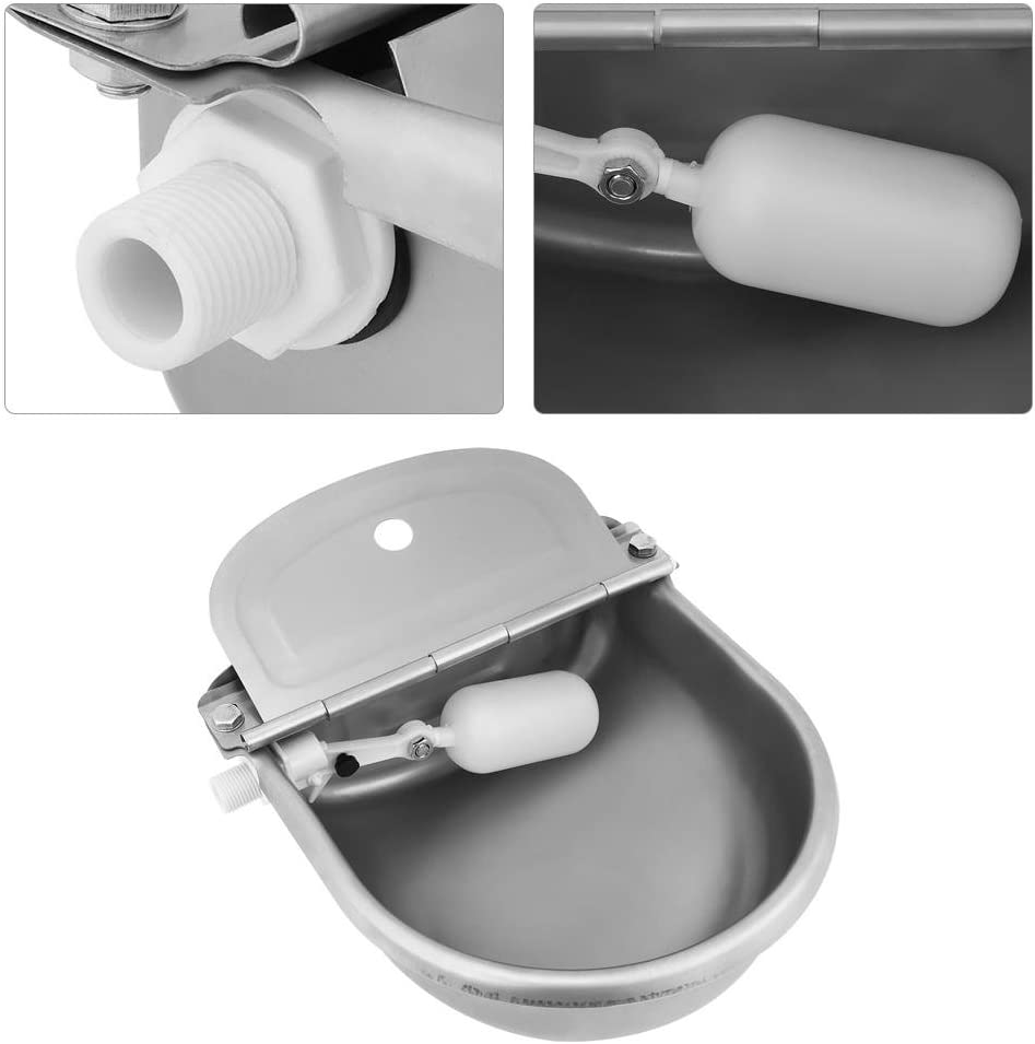 Float Valve Water Trough Farm Supplies Stainless Steel Automatic Waterer Bowl Horse Cattle Goat Sheep Pig Dog
