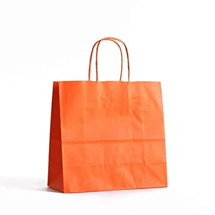 10 X Orange Paper Party Bags Twisted Handles 18x25 8cm Birthday Gift Favour Amazoncouk Kitchen Home