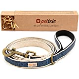 Pettsie Dog Leash Pet Made from Sturdy Durable Natural Hemp, 5 Ft Long, Double Layer for Safety and Padded Handle for Extra Comfort and Control (S, Blue)