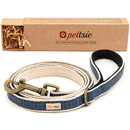 Hemp Dog Leash - Pettsie Dog Pet Leash Made From Sturdy Durable Natural Hemp, 5 Ft Long, Double Layer for Safety and Padded Handle for Extra Comfort and Control (S, Blue)