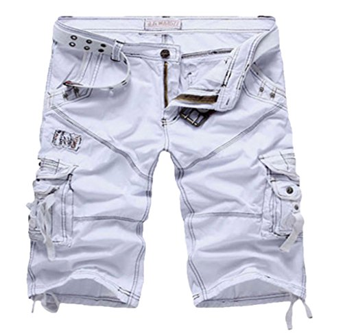 WSLCN Mens Summer Shorts Combat Cargo Shorts Cotton (Without Belt) White 34 (White Cargo Shorts)