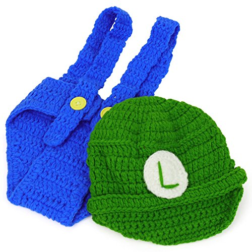 Armycrew Mario and Luigi Infant 2 Piece Outfit Crochet Hat and Pants - Luigi Green