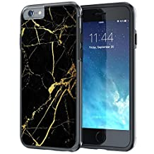iPhone 6 6s Case, True Color® Black & Gold Marble [Stone Texture Collection] Slim Hybrid Hard Back + Soft TPU Bumper Protective Durable [True Protect Series] iPhone 6 / 6s 4.7""