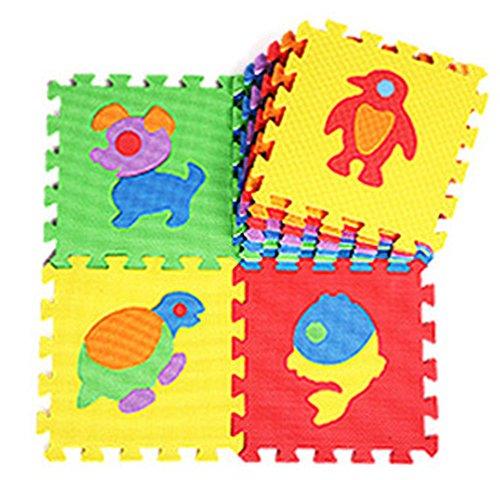 1 Packung Tianmei Kinder Matte Puzzlematte Bodenmatte Spielmatte Spielteppich Schaumstoffmatte Bunt, 10tlg Tiere