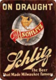 "7"" x 10"" METAL SIGN - Schlitz Beer on Draught - Vintage Look Reproduction"