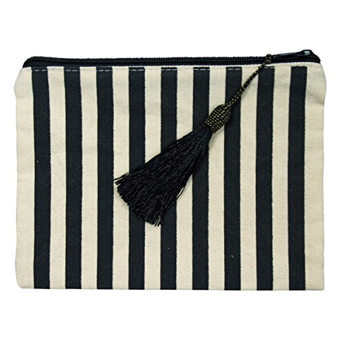 Canvas Makeup Pouch, Girls Cotton Cosmetic Pouch Bag, Womens Zipper Pouches, Striped Zippered Travel Make Up Bags Organizer, Cute Pencil Zip Pouch