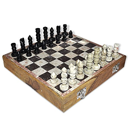 Chess Set Wooden & Soapstone Size :25,4 x 25,4 x 3,8 cm Material: Soapstone Color: Show as Image