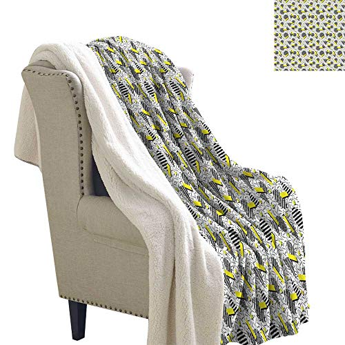 Benmo House Light Thermal Blanket Geometric,Line Art with Circle Triangles and Chevron Zigzags Vintage Artwork Print,Yellow Black White Cozy Blankets and Throws 60x32 Inch ()