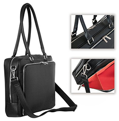 BfB Laptop Bag for Women – Handmade Messenger Computer Bag - 2 Padded Sleeves - Ideal Travel Tote - Black by My Best Friend is a Bag (Image #4)