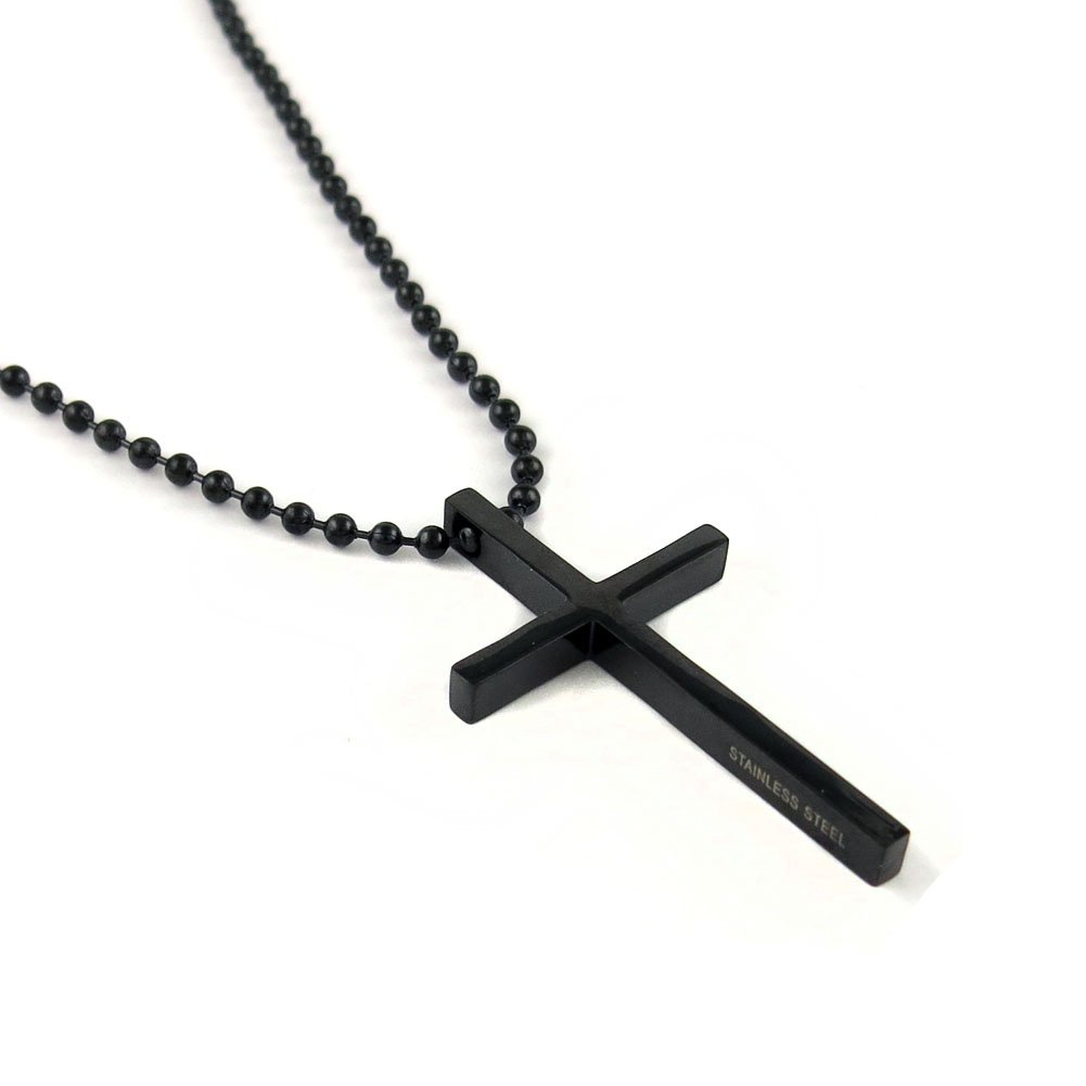 Yeidid International Stainless Steel Black Cross Pendant Chain Necklace for  Men Women b7254a7c7195