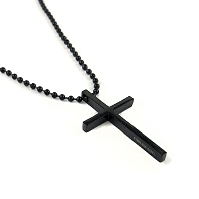 Stainless steel black cross pendant chain necklace for men women 24 stainless steel black cross pendant chain necklace for men women 24 inches aloadofball Image collections