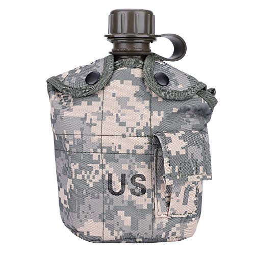 Military Style Canteen,Aluminum Camouflage Bag Water Bottle with Quart Cup for Hiking Camping