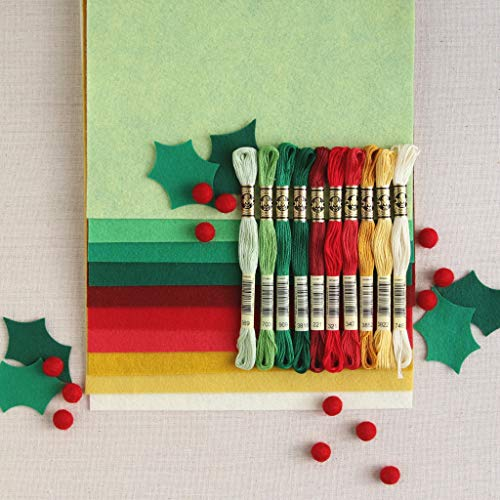 Felt Wool Floss - Wool Felt, Christmas Colors, 10 Sheets of red and Green Wool Blend Felt (10 9x12 inch Sheets with Coordinating Floss)