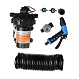 Happybuy Washdown Pump 12V Wash Pump Kit 70 PSI Water Pressure Pump with Automatic Pressure Switch Control (5.5GBM)