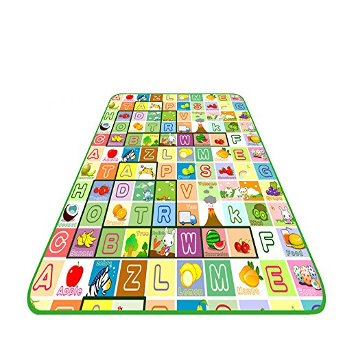 Sytian® 180*200*0.5cm Large Size & Non-slip & Waterproof & Eco-friendly Baby Care Play Mat Kids Crawling Pad Playing Mat Game Mat for Indoor and Outdoor Use (Fruits+Alphabet) -