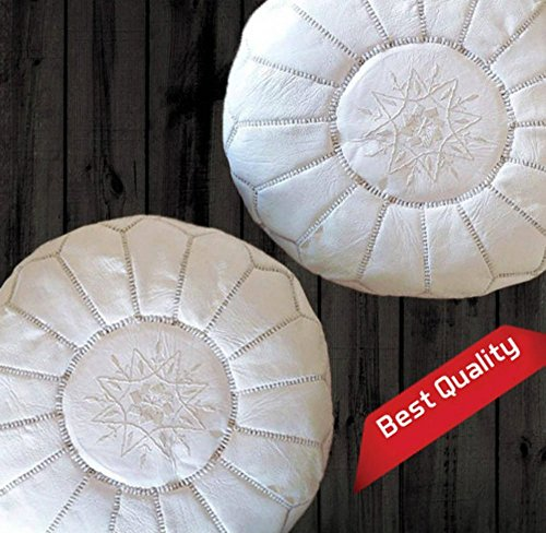 Set of 2 Amazing Moroccan pouf With Leather Pouf Best offer, Ottomans,Footstool,100% handmade Ready to magic your living room! Unstuffed (Room Footstool Living)
