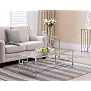 Chrome Finish / Glass Top Metal Frame Cocktail Coffee Table with Square Designs