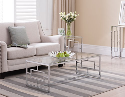 Metal Finish Table - Chrome Finish / Glass Top Metal Frame Cocktail Coffee Table with Square Designs