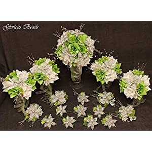 Wedding bouquet package Green Beaded Lily flower 17 piece set with Lime and White Roses ~ Unique French beaded White and Silver Lilies and sprays. Includes Bouquets Corsages and Boutonnieres 96