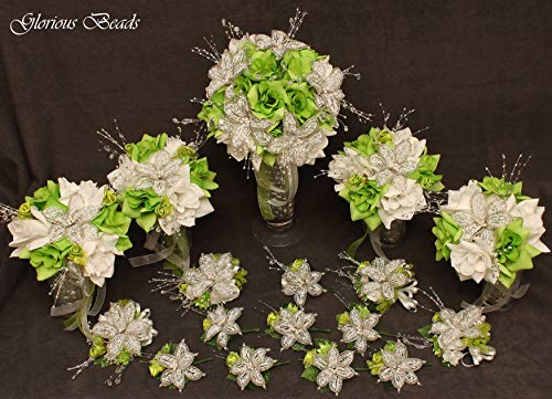 (Wedding bouquet package Green Beaded Lily flower 17 piece set with Lime and White Roses ~ Unique French beaded White and Silver Lilies and sprays. Includes Bouquets Corsages and Boutonnieres)