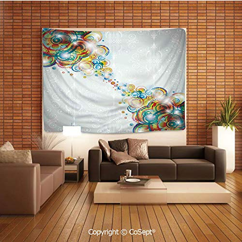 PUTIEN Wall Hanging Tapestry,Modern Design Rainbow Like Waves and Circles Patterned in Disco Themed Artwork Decorative,for Living Room Bedroom Dorm DecorMulticolor