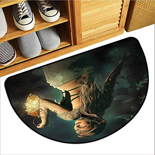Axbkl Interesting Doormat Fairy Elf Princes with Lantern in Mysterious Forest Ornamental Elements Enchantment Easy to Clean W30 xL18 Petrol Blue Beige - Enchantment Terrace