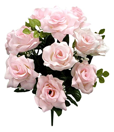 Bush Pink Flowers - Admired By Nature GPB293-Pink 12 Stems Veined Satin Rose Bush, Pink, Piece