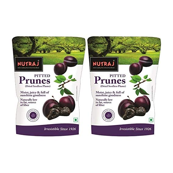 Nutraj California Pitted Prunes (Dried Seedless Plums) 400g (200g X 2)