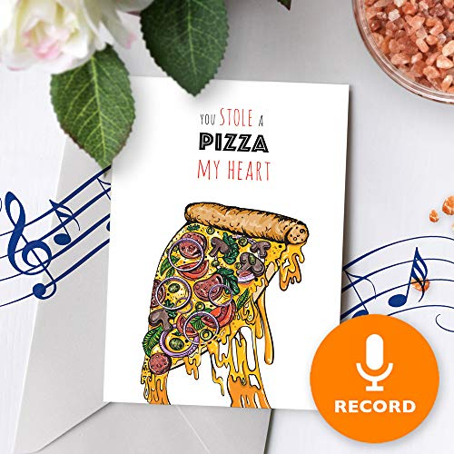 Musical Valentines Day Cards - Funny Love Card With Music | Cute Valentines Day Card, Cheesy Musical Greeting Card, Happy Valentines Day, Pizza Pun Card 10270 (120 Second Recordable)