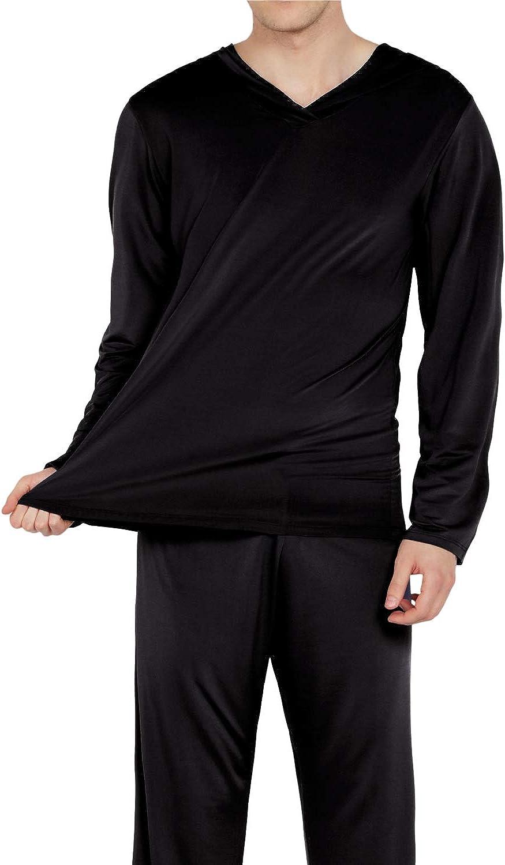WEEN CHARM Mens Silk Satin Pajamas Set Hooded Shirt with Pants Sleepwear Loungewear