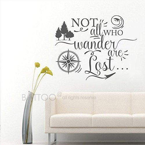 BATTOO Not all who wander are lost, Travel Wall Saying, Compass Wall Decal, Vinyl Lettering, Urban Decor Wall Art Sticker(dark gray, 22