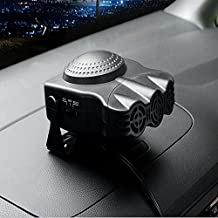 12V 150W Car Vehicle Cooling Fan Hot Warm Heater Windscreen Demister Defroster 2 in1 Portable Auto Car Van Heater(Black)