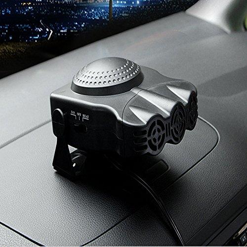 ELEOPTION 12V Car Vehicle Portable Ceramic Heater Heating Cooling Fan Defroster Demister 30 Seconds Fast Heating Quickly Defrosts Defogger (Black)