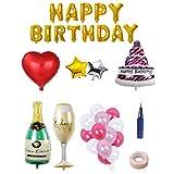 BESTOYARD Happy Birthday Cake Champagne Cup Bottle Foil Balloon Birthday Party Pack