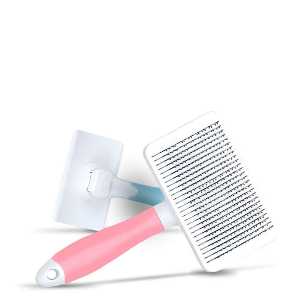 Ldlms Pet Supplies pet Dog Comb Retractable Hair Removal Comb cat Brush Large Dog Hair Comber (Color : Pink Big)