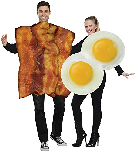 Mens Halloween Costume- Bacon Eggs Adult Couples Costumes - Bacon Couples Costumes For Adults