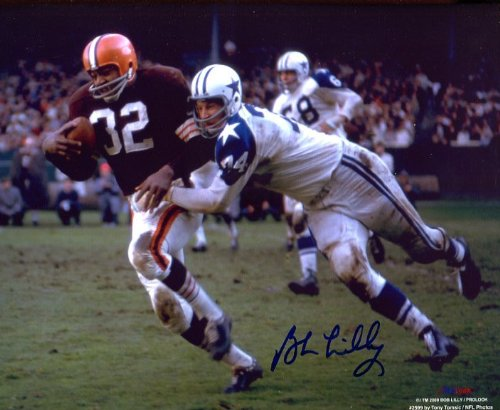 (Bob Lilly (Football HOF) Autographed/ Original Signed 8x10 Color Action-photo While Making Tackle for the Dallas Cowboys)